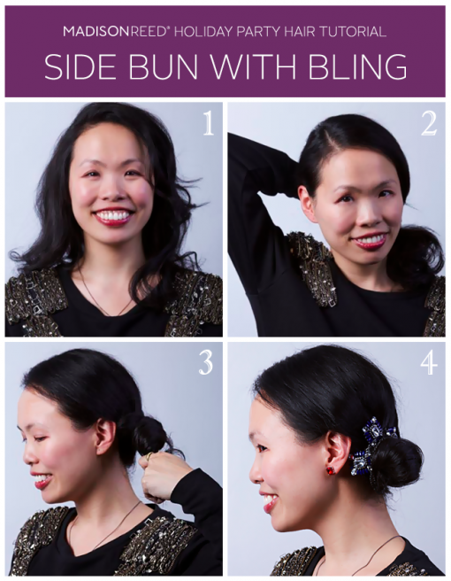 Holiday Hair Tutorial – Side Bun with Bling