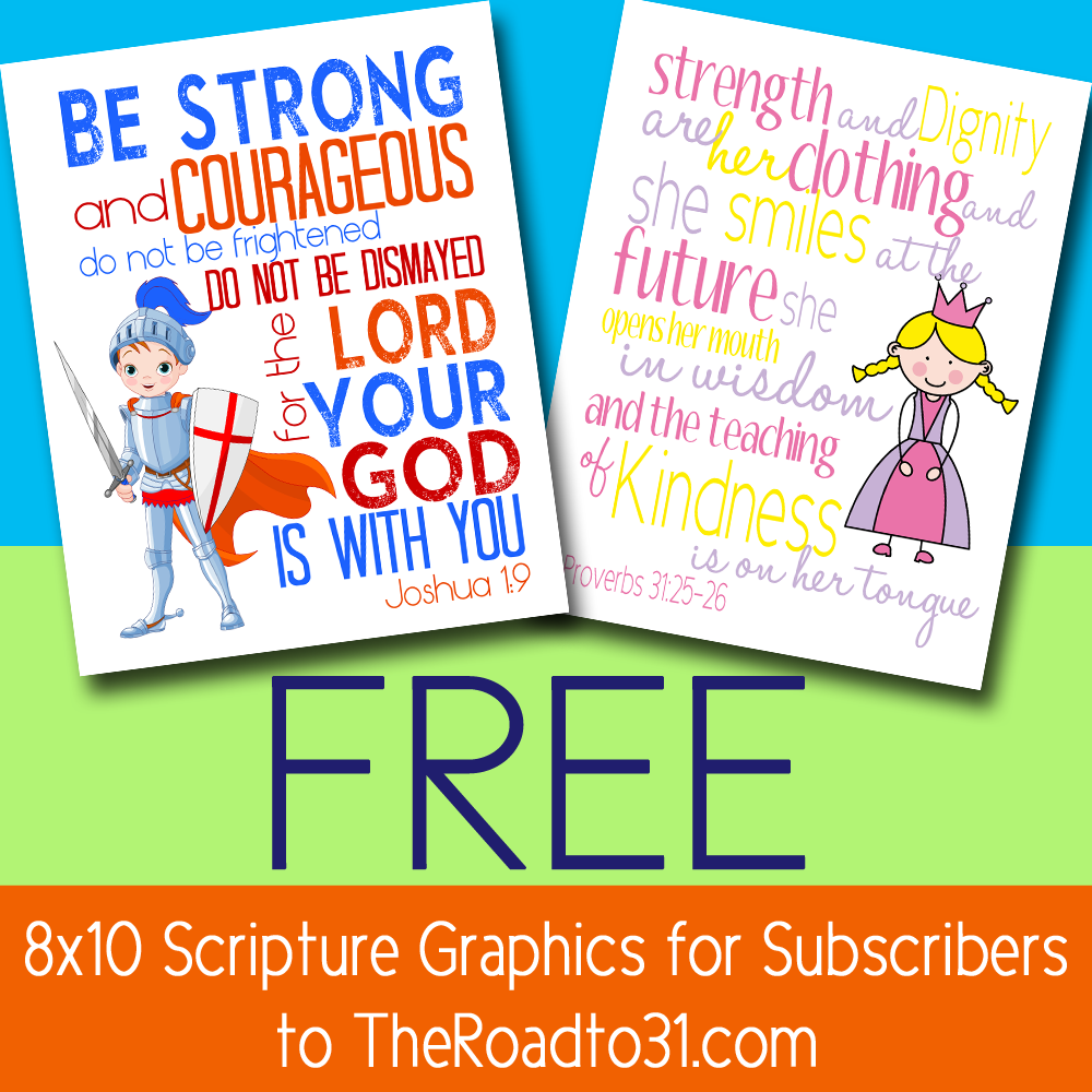 Free 8×10 Scripture Printables For Your Kid's Room
