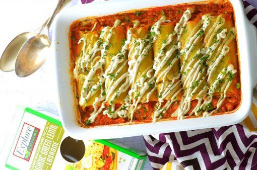Pumpkin Stuffed Green Lentil Cannelloni