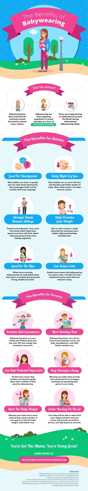 Benefits of Babywearing Infographic The Little Known Benefits of Babywearing by North Carolina Lifestyle Blogger Champagne Style Bare Budget