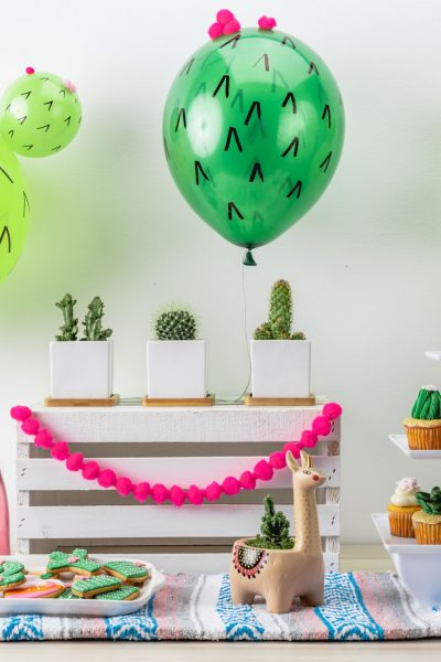 How to Create DIY Cactus Balloons + Cactus Party Ideas from North Carolina Lifestyle Blogger Champagne Style Bare Budget