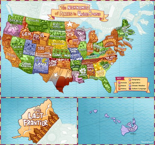 The Nicknames of American and Canadian Places Mapped Out from North Carolina Lifestyle Blogger Champagne Style Bare Budget