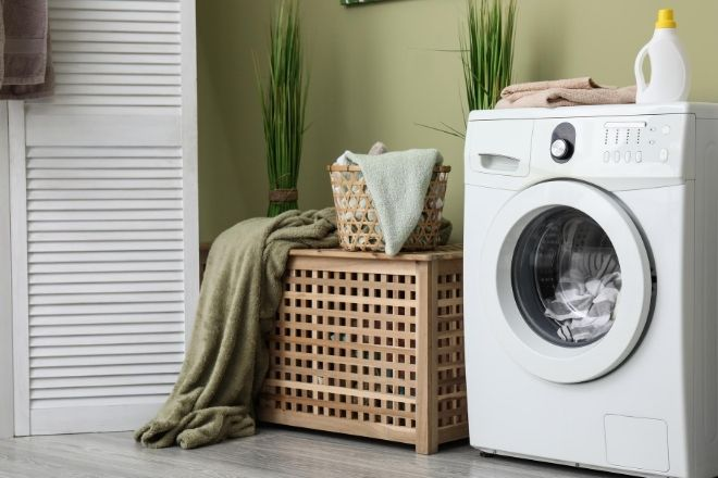 How To Make Your Laundry Room Stylish from North Carolina Lifestyle Blogger Champagne Style Bare Budget